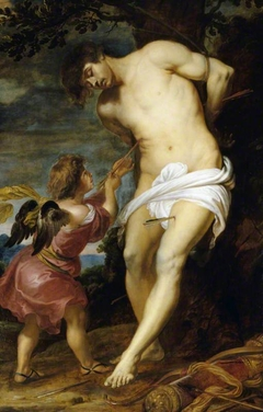 Saint Sebastian comforted by an Angel