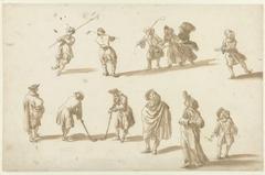 Schaatsers, kolfspelers en een heer en dame, gevolgd door een jongetje