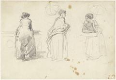Schetsblad met drie studies van een vrouw met een parasol