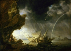 Seascape with Sailors Sheltering from a Rainstorm