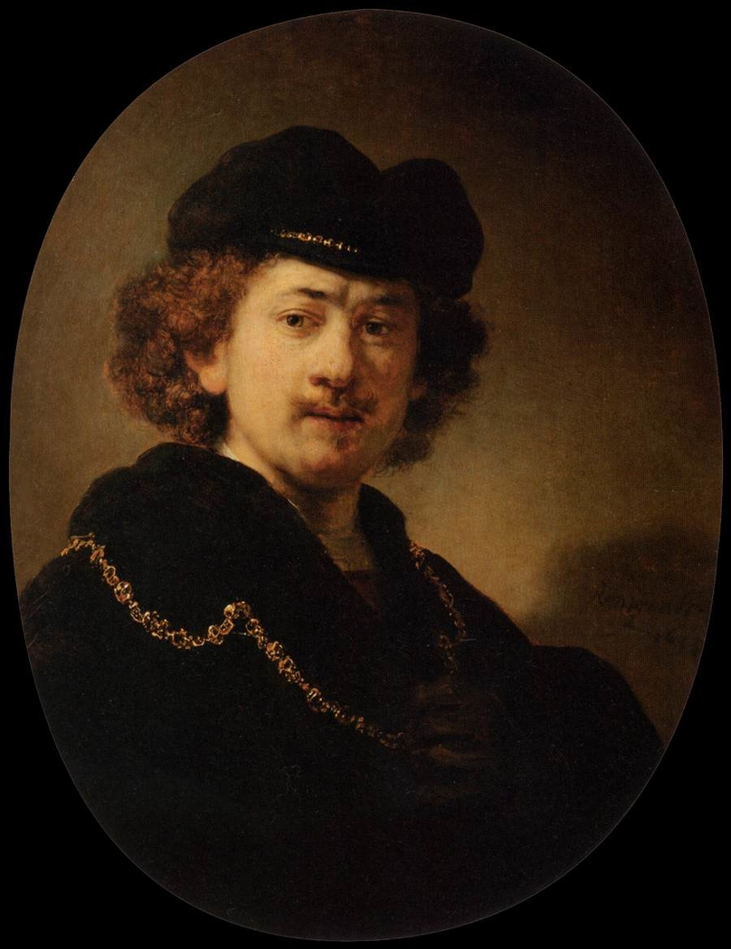 Self-portrait Wearing a Toque and a Gold Chain