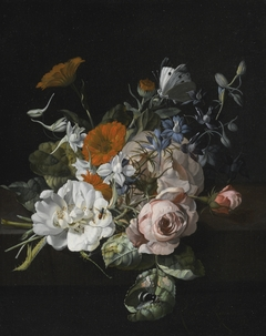 Still life of flowers with a nosegay of roses, marigolds, larkspur, a bumblebee and other insects