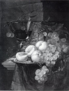 Still Life with Fruit and a Cherry Branch over a Berkemeyer Glass