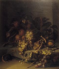 Stilleven met druiven, mispel en een muis