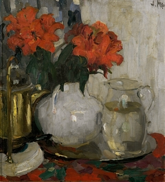 stilllife with red flowers and a glass carafe