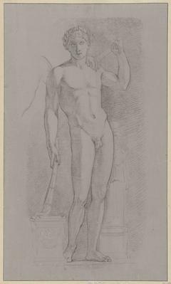 Studie naar een standbeeld van een staande naakte man met een toorts