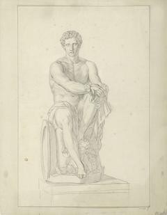Studie naar een standbeeld van een zittende man met zwaard
