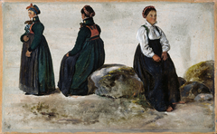 Studies of Female Costumes from Luster in Sogn