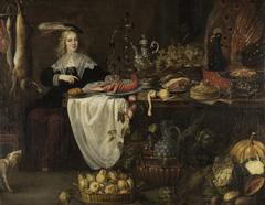 Tafelstilleben mit sitzender Dame