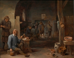 Tavern scene with a smoker holding a crock
