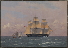 """The 84-Gun Danish Warship """"Dronning Marie"""" in the Sound"""