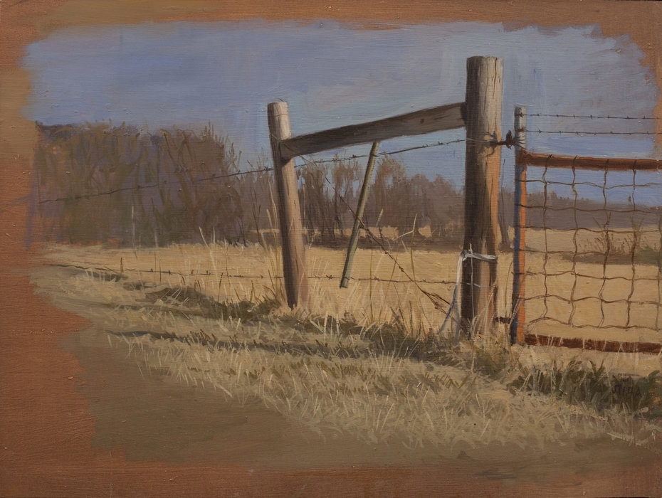 """""""The Gate"""" by Lydia Martin© (18""""x22"""") oil on gessoed cardboard"""