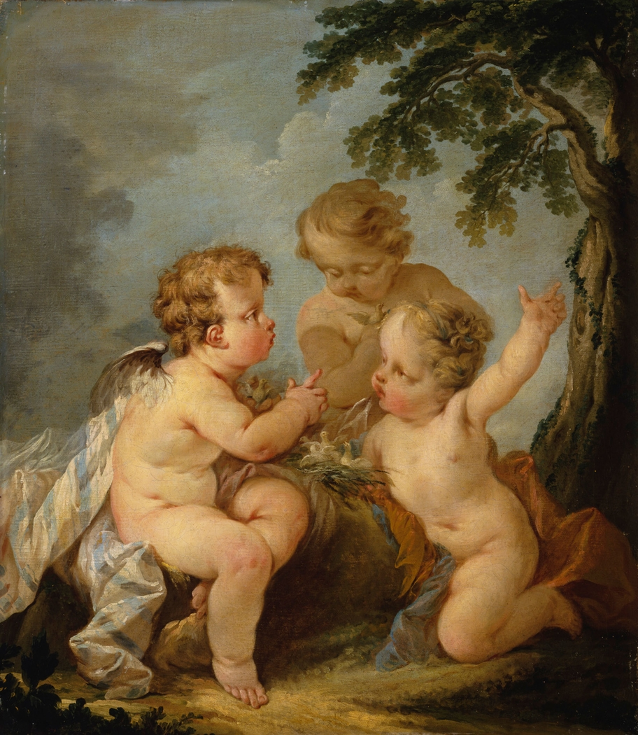 Three amorins playing with a bird's nest