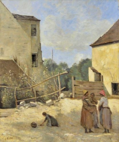 Three peasant girls chatting in a rustic courtyard