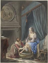 Toilet van een jonge vrouw