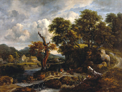 Travellers and shepherds at a crossroads near a dead tree