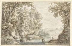 Twee hengelaars bij een waterval in een bos