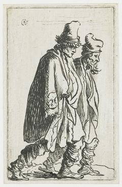 Twee zwervers, naar rechts gewend