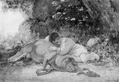 Two Friends. A Boy Sleeping beside a Pig