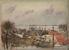 Udsigt over Sankt Jørgensbjerg og Roskilde Fjord. Vinterdag