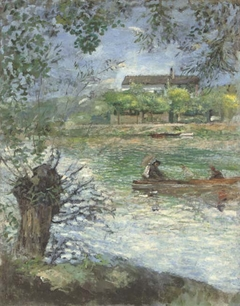 Saules et personnages dans une barque
