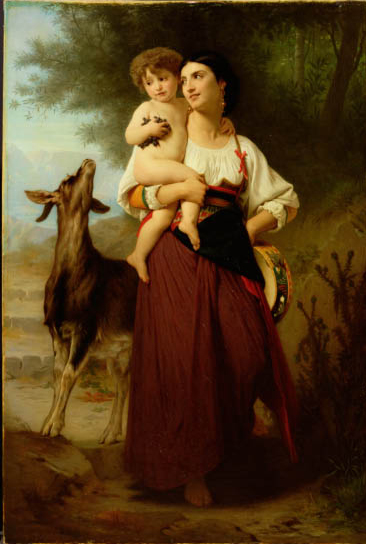 Young Mother in Campagna Costume with her Child and a Goat