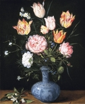 Vase of flowers on a tabletop