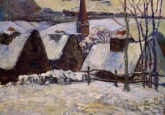 Village breton sous la neige