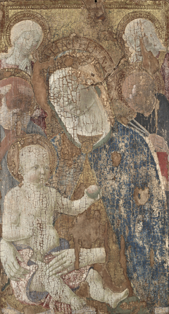 Virgin and Child with Saints Jerome and Peter(?) andAngel