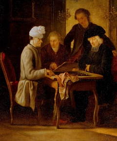 Voltaire playing chess with Father Adam