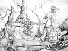 """Wandering Gardener""copper  etching/engraving"