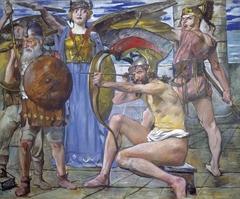 Wandschmuck der Villa Katzenellenbogen (Odysseus im Kampf mit den Freiern). Gemäldezyklus von insgesamt 11 Bildern