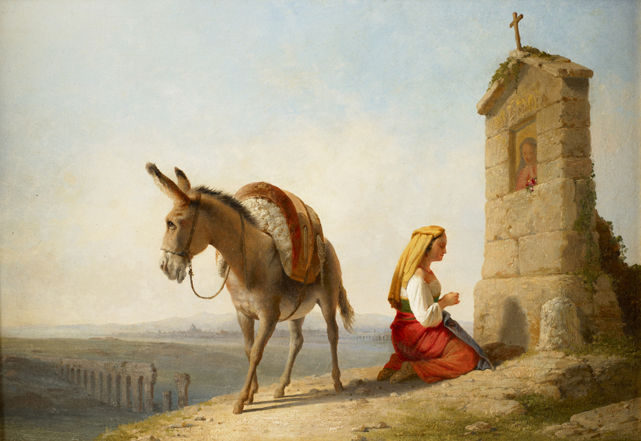 Woman and Donkey by a Roadside Shrine