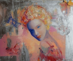 Woman with butterflies, 40 x 60 cm, oils, 2011 by ANNA ZYGMUNT