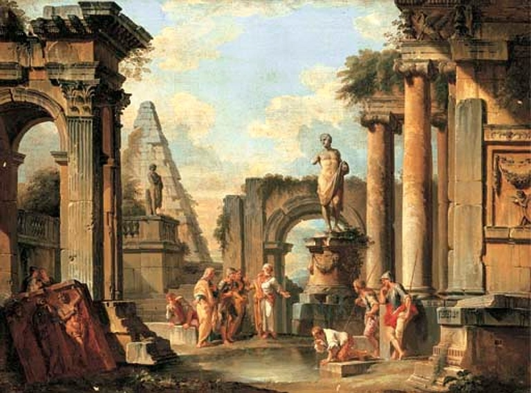 A capriccio of classical ruins with Diogenes throwing away his cup.