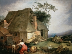 A cottage with peasants milking goats