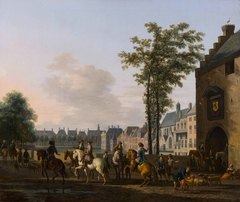 A hunting party near the Hofvijver in The Hague, seen from the South