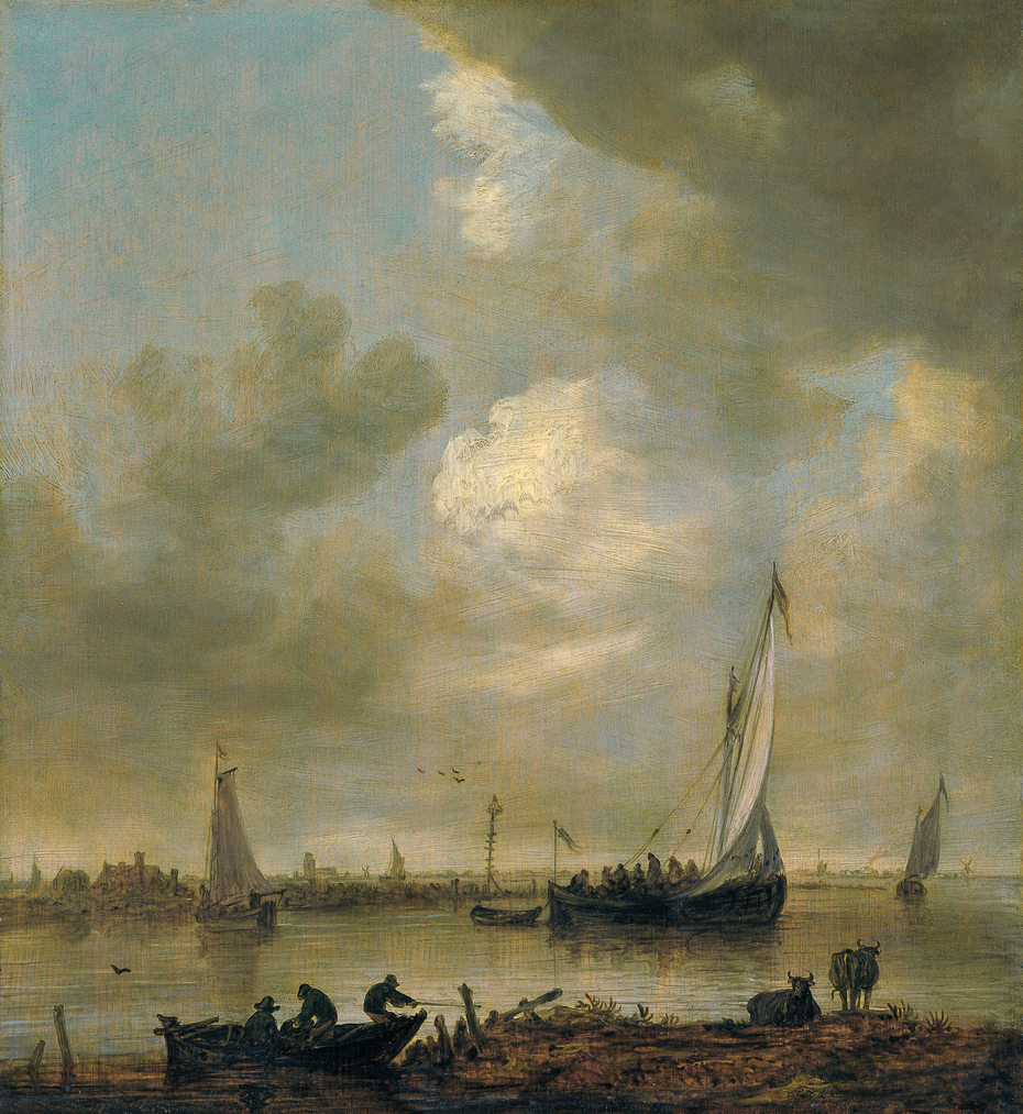 "A River Estuary with ""Smalschips"" , Fishermen, and Cattle Watering"