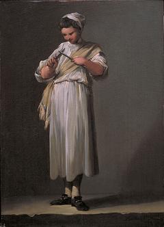 A Roman Cook´s Boy Sharpening a Knife