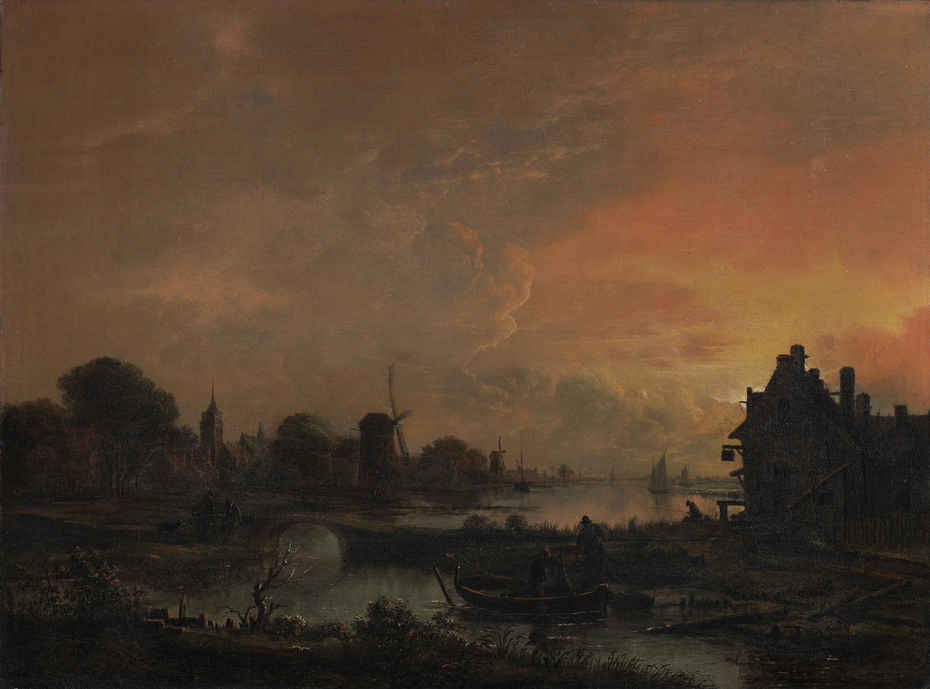 An evening landscape with fishermen in the foreground