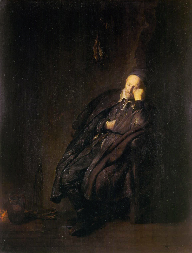 An old man sleeping near the fire