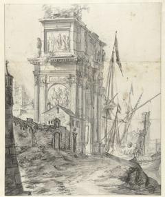 Capriccio met antieke triomfboog