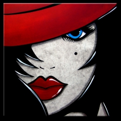 Face To Face - Original Abstract painting Modern pop Art Contemporary large Portrait red hat FACE by Fidostudio
