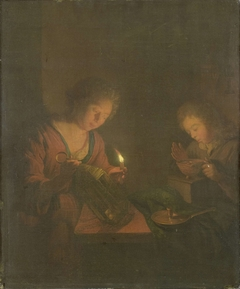 Fire and Light (A Girl Places a Candle in a Lantern and a Boy Blows on the Coals in a Chafing-Dish)