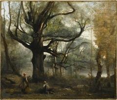 Fontainebleau. Bûcheronnes au pied d'un gros chêne