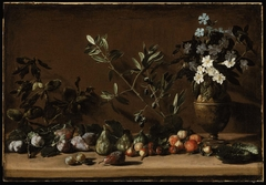 Fruit and Vase of Flowers on a Ledge