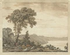 Gezicht op Castel Gandolfo en het meer van Albano