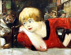 In the café - Woman in red