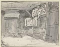 Interieur van een eenvoudige houten woning