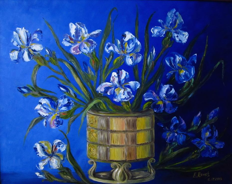 Irises on Blue